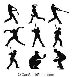 conjunto, jugador de bolos, cántaro, shortstop, receptor, silhouettes., baseman, base, fielder, jugadores, bateador del béisbol