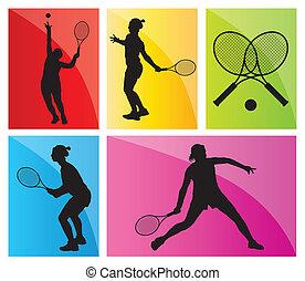 conjunto, jugadores del tenis, siluetas, vector, plano de...