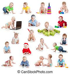 conjunto, juguetes, aislado, niños, bebes, gatear, blanco, o