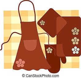 conjunto, kitchet, ama de casa, vector, ilustración