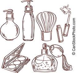 conjunto, lápiz labial, cosméticos, doodles, sombra, perfume...