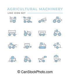 conjunto, línea, agrícola, iconos, color, maquinaria