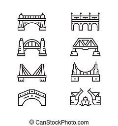 conjunto, línea, iconos, de, puentes