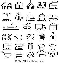 conjunto, línea, iconos
