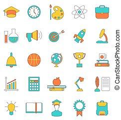 conjunto, línea plana, colorido, iconos, de, escuela, equipo