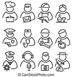 conjunto, línea, pueblos, iconos