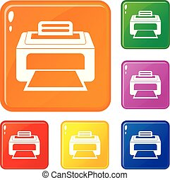conjunto, laser, iconos, color, moderno, vector, impresora
