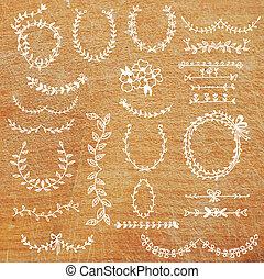 conjunto, laurels, -, hojas, diseño, floral, cintas