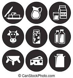 conjunto, leche, iconos