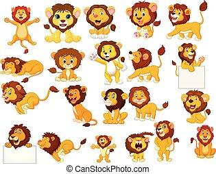conjunto, leones, caricatura, colección
