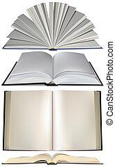 conjunto, libro abierto