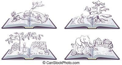 conjunto, libro abierto, fábula, ilustración