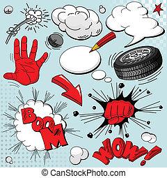 conjunto, libro, cómico, explosiones