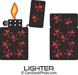 conjunto, lighters., aislado, fire., vector, encendedor, icono