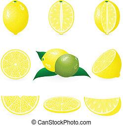 conjunto, limón, icono