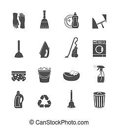 conjunto, limpieza, icono