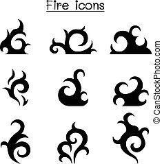 conjunto, llama, fuego, icono