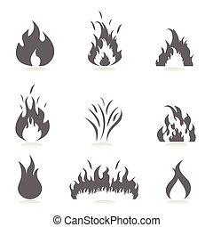 conjunto, llamas, icono