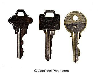conjunto llaves, en, un, ba blanco