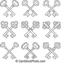 conjunto, llaves, mano, vector, cruzado, dibujado