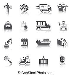 conjunto, logístico, iconos