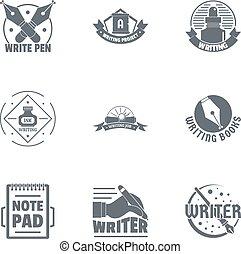 conjunto, logotipo, estilo, escritor, simple