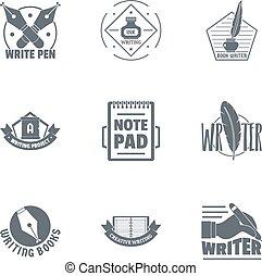 conjunto, logotipo, estilo, simple, scribbler