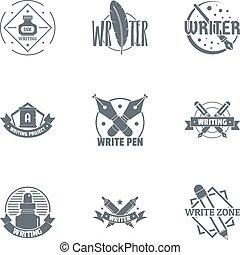 conjunto, logotipo, novelista, estilo, simple