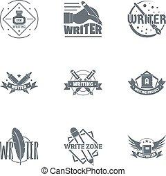 conjunto, logotipo, pluma, estilo, simple