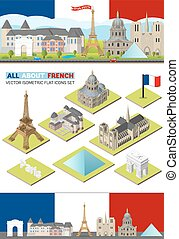 conjunto, louvre, landmarks., arco, diseño, torre, tela, ...