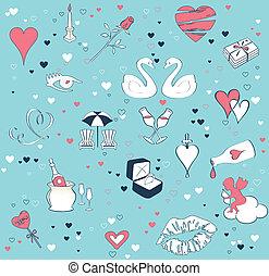 conjunto, love., seamless, tema, vector, plano de fondo, caricatura