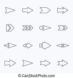 conjunto, luz, flechas, hueco, fondo., vector