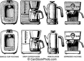 conjunto, máquinas, café