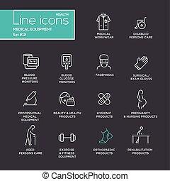 conjunto, médico, -, equipo, pictograms, diseño, línea