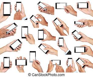 conjunto, móvil, pantalla, mano, teléfono, tenencia, blanco, elegante