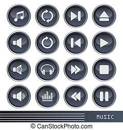 conjunto, música, iconos
