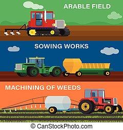 conjunto, machines., granja, vehículos, ilustración, sembrar...