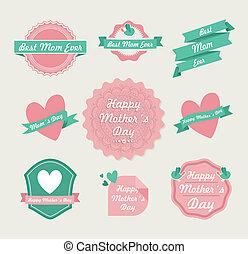 conjunto, madres, vendimia, etiqueta, día, feliz
