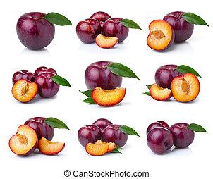 conjunto, maduro, ciruela, fruits, con, hojas verdes, aislado, blanco