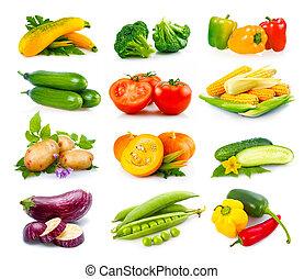 conjunto, maduro, vegetales, aislado, otoño, blanco
