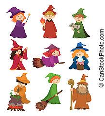 conjunto, mago, bruja, caricatura, icono