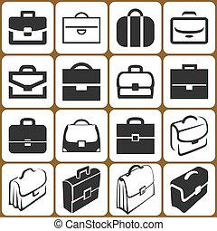 conjunto, maletín, iconos