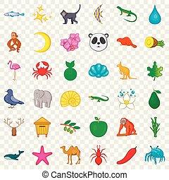 conjunto, mamífero, estilo, caricatura, iconos