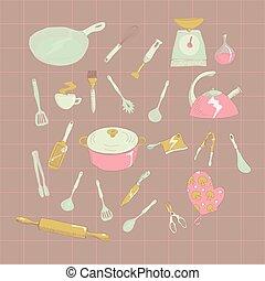 conjunto, mano, vector, dibujado, icono, illustrtaion, cocina