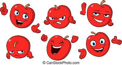 conjunto, manzana, caricatura