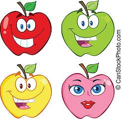 conjunto, manzana, colección, caricatura