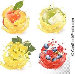 conjunto, manzana, melocotón, fruta, frambuesa, jugo, vector, strawberry., splash., arándano, uvas