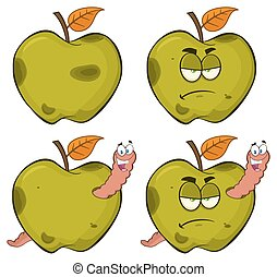 conjunto, manzana, serie, gusano, colección, caricatura, podrido, fruta, verde, caracteres, 2., feliz, malhumorado, mascota