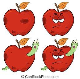 conjunto, manzana, serie, gusano, colección, podrido, fruta, malhumorado, feliz, rojo, 1.
