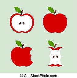 conjunto, manzanas, rojo, iconos